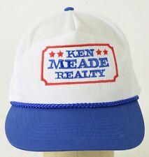 Vintage Ken Meade Realty White Blue Red Baseball Hat Cap Adjustable