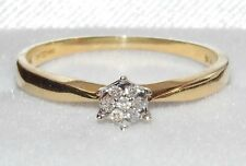 UK HALLMARKED 18 CT YELLOW GOLD DIAMOND CLUSTER SOLITAIRE ENGAGEMENT RING size N