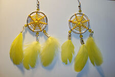 Peruvian Alpaca Silver & Delicate  Dreamcatcher Feather Earrings~L~uk seller~