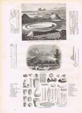 1854 Stonehenge Plans Sections Druid Circle Persia Darab Engravings