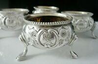 4 Antique Silver CRESTED Salt Cauldrons, Robert Harper, London 1863