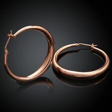 "Awesome New 18K Rose Gold Filled Smooth & Shiny 1.25"" Round Hoop Earrings"