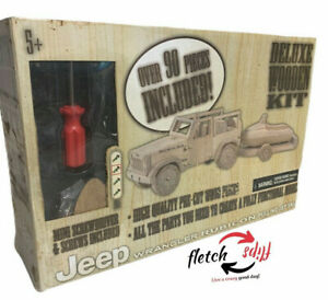 Planet Toys Jeep Rubicon Pulling Jet Ski Deluxe Wooden Kit Over 90 Pieces