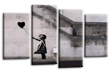 Le Reve Banksy Girl With Black Balloon Canvas Picture Grey White Wall Art Split