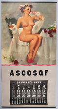 "Gil Elvgren 1953 Complete Pin-Up Calendar 16""x33"" VF-Excellent Captivating Nude"
