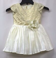 Nannette Little Girls Dress Metallic Gold Lace Top with Pleated Skirt Size 3