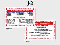 Emergency SOS Life Saving Wallet Medical Alert ID Cards Printed on Plastic ICE