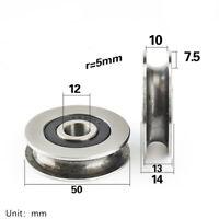 U Groove Metal Pulley Ball Bearings Wheel Steel Guide Roller 12x50x13mm 1PC