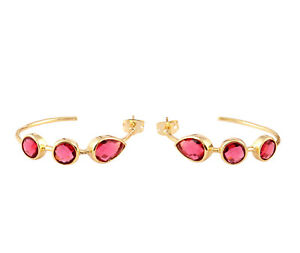 Pink Ruby Hydro Quartz Round Pear Shape Gemstone Gold Plated Bali Hoop Earrings