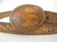 Vintage Eagle Tooled Leather Belt & Buckle sz 38  Biker Western USA Made