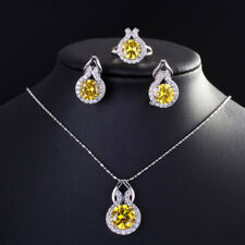 10.00 Ct Citrine and Diamond Earrings Ring Pendant Necklace Set Engagement Gift