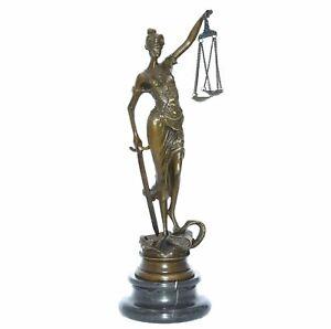 Justitia Skulptur aus echter Bronze auf Marmor Sockel Figur der Gerechtigkeit