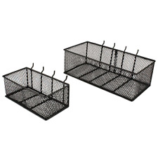 Pegboard Baskets 2 Pack Steel Wire Mesh Garage Wall Organizer Storage Bins Black