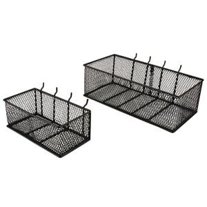 PEGBOARD BASKETS 2 Pack Steel Wire Mesh Garage Wall Organizer Storage Bins Black
