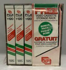 Lot of 3 Fuji Blank Record Video Tape VHS T-120 with Bonus Video Cassette Rack