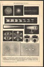 1897 Gravure originale électricité Spectres Oscillations