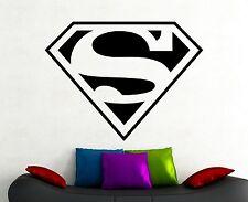 Superman Logo Wall Decal Comics Art Superhero Vinyl Sticker Kids Room Decor 6exx