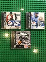 LOT OF 3 GAMES Sony Playstation 1 Triple Play 99 NHL 99 NFL GameDay 98 Football