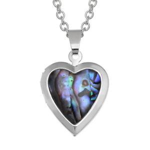 "TJ692  Tide Jewellery inlaid Paua shell heart locket pendant on 18"" trace chain."