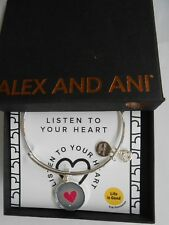 Alex and Ani LISTEN TO YOUR HEART Expandable Bracelet Shiny Silver NWTBC