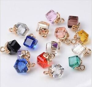 10 Small Cube Cut Acrylic Crystal Pendents/ Buttons Craft DIY Jewellery Making