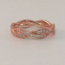 Authentic PANDORA TWIST OF FATE Rose GOLD Plated Ring Size 6 NEW