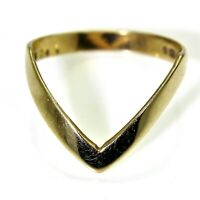 Very Deep V Wishbone 9ct Yellow Gold Band Ring size M 1/2 ~ US 6 1/2