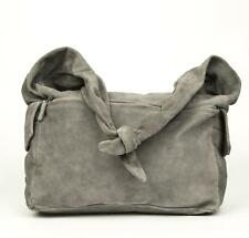 Canali NWT $1495 Gray 100% Suede Leather Large Shoulder Messenger Bag Carry-On