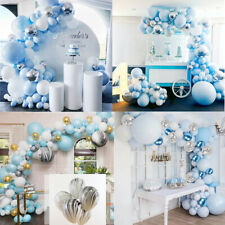 100-141PCS Blue White Balloons Arch Chrome Metallic Latex Set Garland Party UK