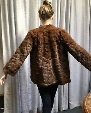 VINTAGE Coat Real FUR Chocolate Brown Jacket Trench Soft Lined M 10/12