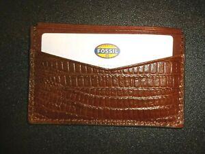 Fossil Genuine Leather Card Case Wallet Cognac Brown NIB