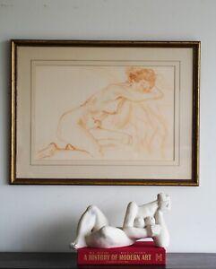A lovely original drawing on paper reclining nude Australian Modern Art