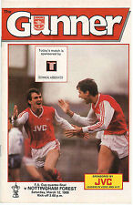 Football Programme, Arsenal v Nottingham Forest. 12 March 1988. F.A. Cup
