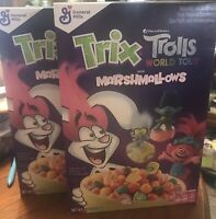 General Mills Trix Trolls World Tour  marshmallow Cereal  Lot Of 2 Rare Limited