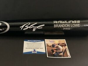 Brandon Lowe Tampa Bay Rays Autographed Signed Engraved Black Bat BECKETT COA