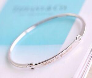 Silver Believe in yourself Woman's Ladies Girl Encourage Cuff Bangle Bracelet UK