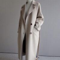Women's Winter Long Coat Double Breasted Lapel Outwear Belted Loose Overcoat New