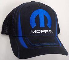Hat Cap Mopar M Logo Black Mesh Blue Stitching Dodge Chrysler Plymouth Jeep CF