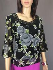 ** SUJI KIM ** Size M (10) Black Womens Occasion Shimmer Top Rose Print - (A420)