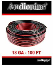 18 Gauge Speaker Wire 100' Red Black Zip Cable Copper Clad Low Voltage Audiopipe