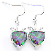 Holiday XMAS Gift Fire Heart Rainbow Mystic Topaz Gem Silver Dangle Earrings