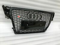 RS4 Style Grill Glossy Black Grille Chrome Rings For 09 10 11 12 Audi A4 B8 S4