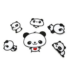 6 Sweet Pandas Embroidery Cloth Iron On Patch Sew Motif Applique Kawaii LE