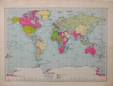 1934 MAP WORLD SHOWING COLONIAL POWERS HIGHWAYS ROUTES BRITISH POSSESSIONS