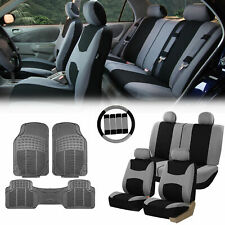Gray Black Car Seat Covers for Auto w/Steering Cover/Belt Pads/Floor Mat
