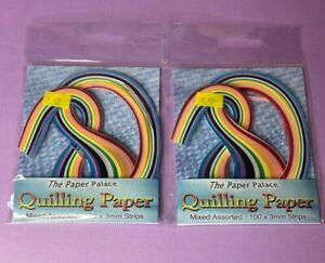 2 PACKS of Quilling papers - Mixed assorted - 100x3mm strips