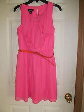 NWT Girl's Amy's Closet Pink Ruffled Sleeveless Dress w/ Thin Orange belt sz 14