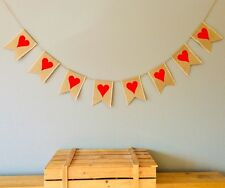 Heart Valentine's Day Engagement Wedding Bunting Banner. Hessian Burlap