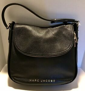 NWT Marc Jacobs LARGE HOBO Black Textured Leather Hand Bag