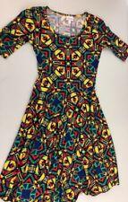 Lularoe Nicole Dress Size Small Aztec Print Colorful Stretch Knee Length